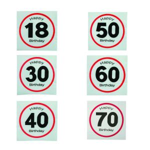"""Servetten """"Verkeersbord"""" voor verjaardagen - 70"""