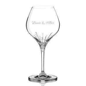 Set van 2 wijnglazen met Swarovski-steentjes – met of zonder gravure