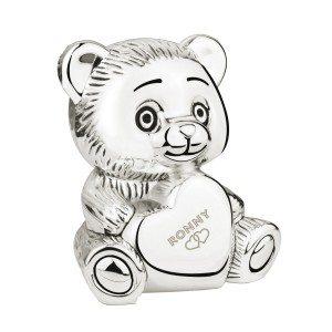 """Spaarpot """"hart beer"""" met gravure"""