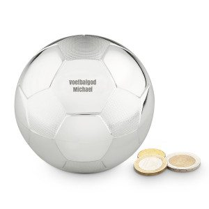 Spaarpot voetbal met gravure - NL