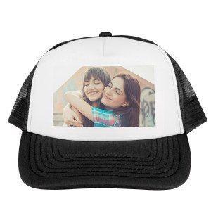 Stijlvolle trucker cap met foto-opdruk - zwart voorkant
