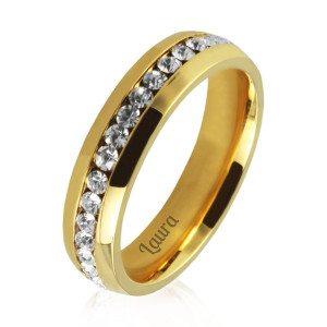 Vergulde ring met zirkonia-kristallen en gravure