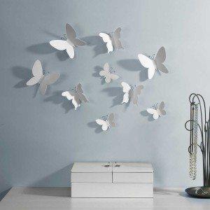 Wanddecoratie ''witte vlinders''