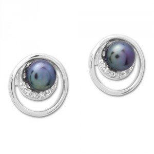 Zilveren oorstekers met kraal