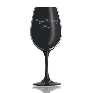 Zwart wijnglas van Schott Zwiesel met gravure