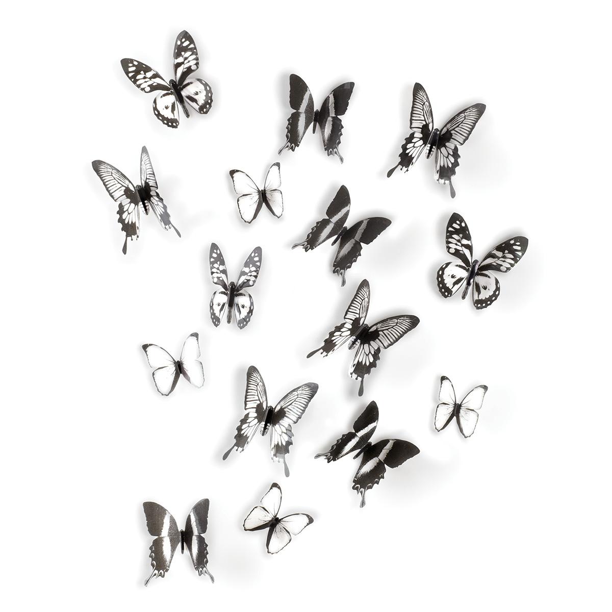 Umbra Chrysalis Muurdecoratie Set van 15 Zwart-Wit