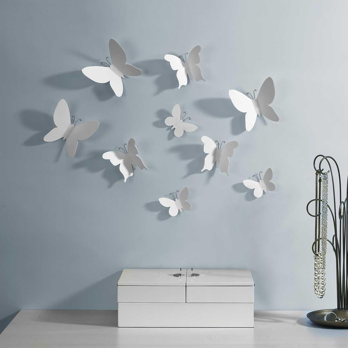 Wanddecoratie Witte vlinders